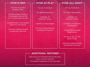 Hyde Bellagio Bachelorette Packages