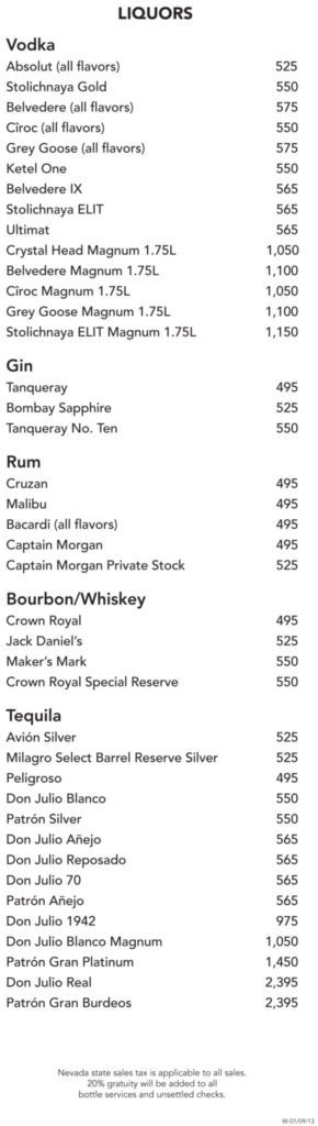 Surrender Bottle Menu Liquors