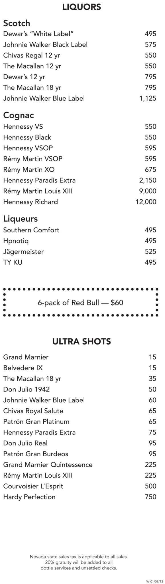 Encore Beach Club Bottle Menu Surrender Liquors Shots