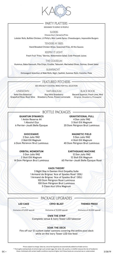 Kaos Dayclub Bottle Menu